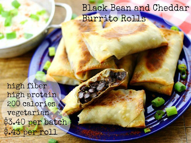 Black Bean and Cheddar Burrito Rolls | Eat Healthy. A money saving #vegetarian meal.