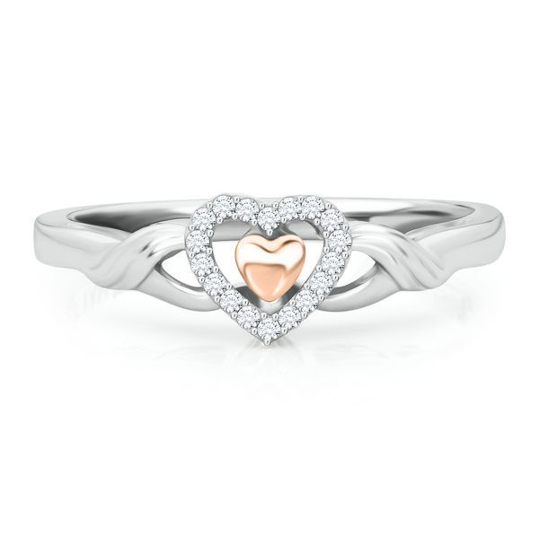 I Am Loved® Diamond Heart Ring in Sterling Silver & 14K Gold