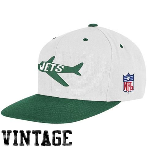 692284646 Mitchell & Ness New York Jets White-Green Two-Tone Snapback Adjustable Hat