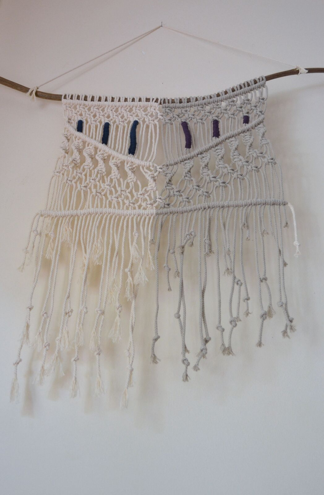 bohemian, ethnic, tribal, 70s macrame wall hanging with natural