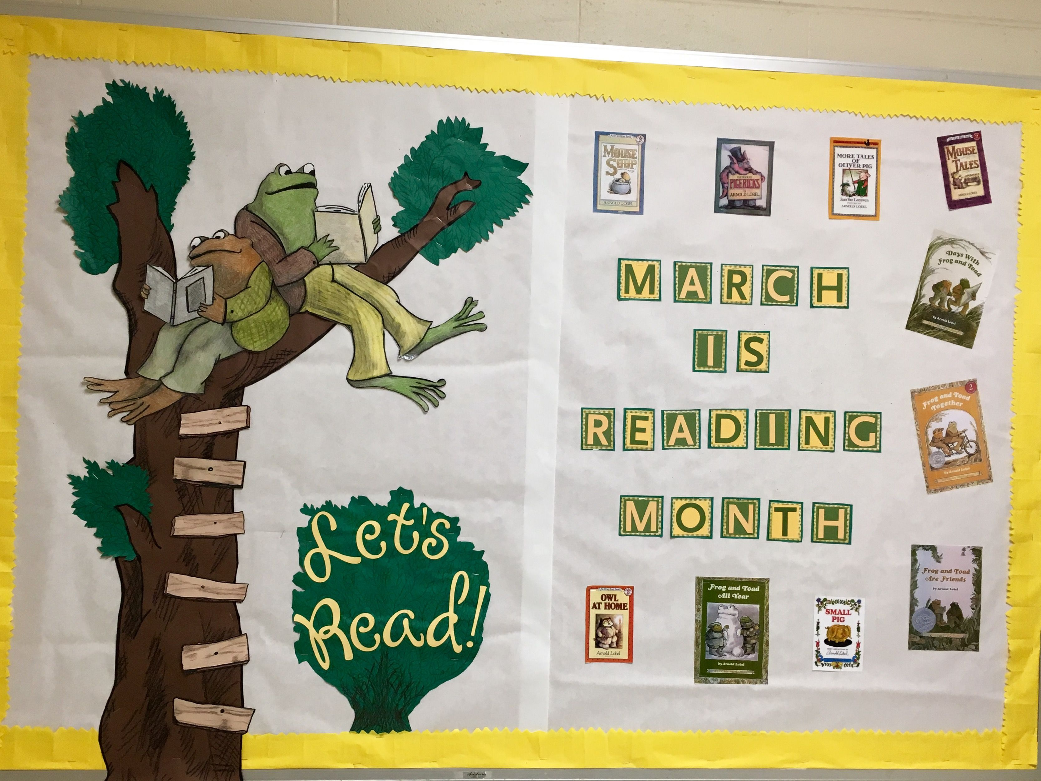 March Is Reading Month Bulletin Board Featuring Lobel S Frog And Toad Spring Boards Themes