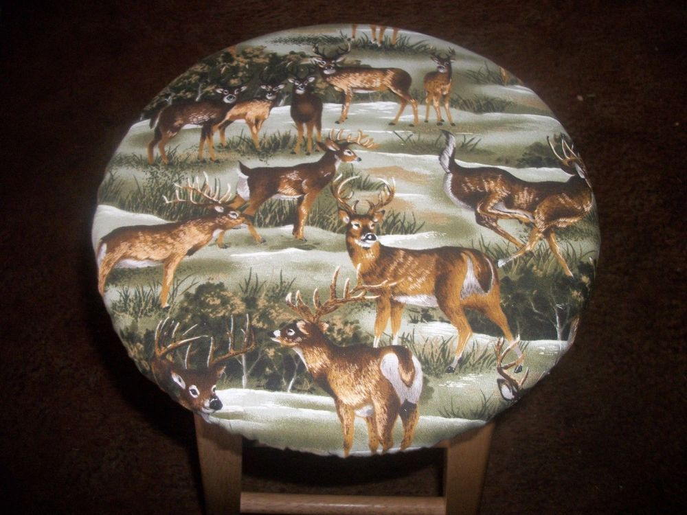 White Tail Deer Camo Camoflauge 12 Fabric Wooden Kitchen Bar Stool Slip Cover
