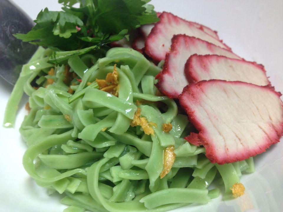 Home made green egg noodle with BBQ pork. Mee-yok-haeng-moo-dang.
