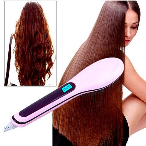 Auto Hair Straightener Comb LCD Iron Brush Electric Hair
