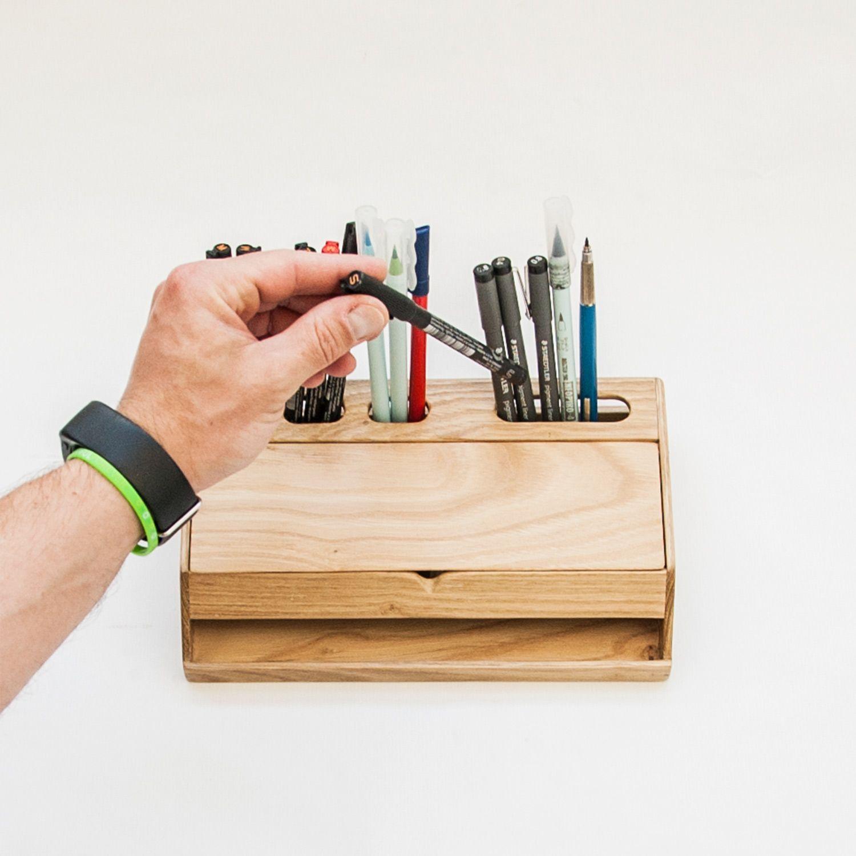 Handmade Modern Solid Wood Desk Organizer With Smartphone Stand Handmade Desks Desk Organization Desk Organization Office