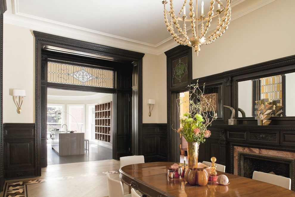 Black Wainscoting Dining Room Victorian With Interior