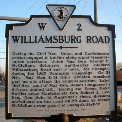 Williamsburg Road Marker Virginia History Historical Marker Civil War Monuments