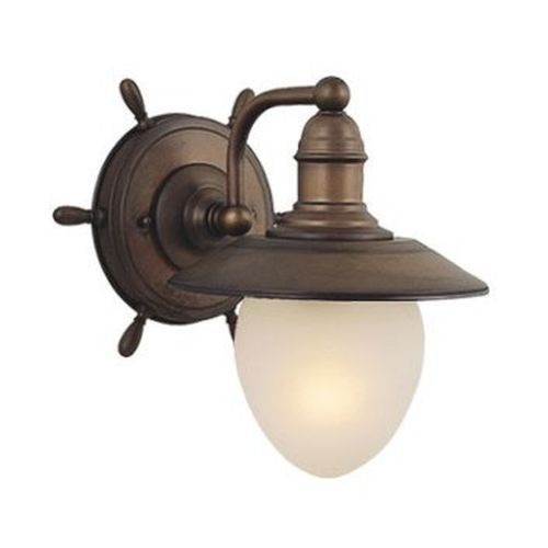 Nautical 1 Light Nautical Bathroom Wall Sconce Outdoor Lighting Fixture Antique Red Copper