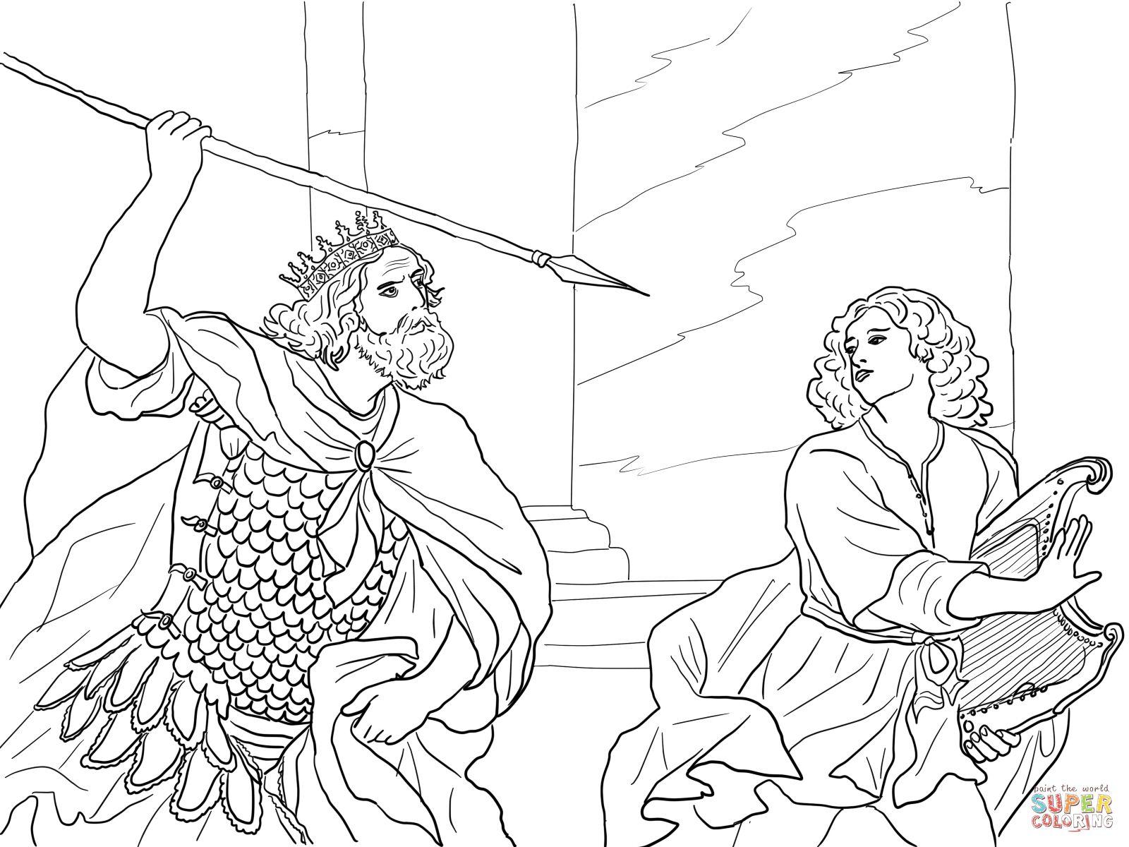 Dibujos Biblicos Para Colorear Del Rey David: David Spares Saul Coloring Page