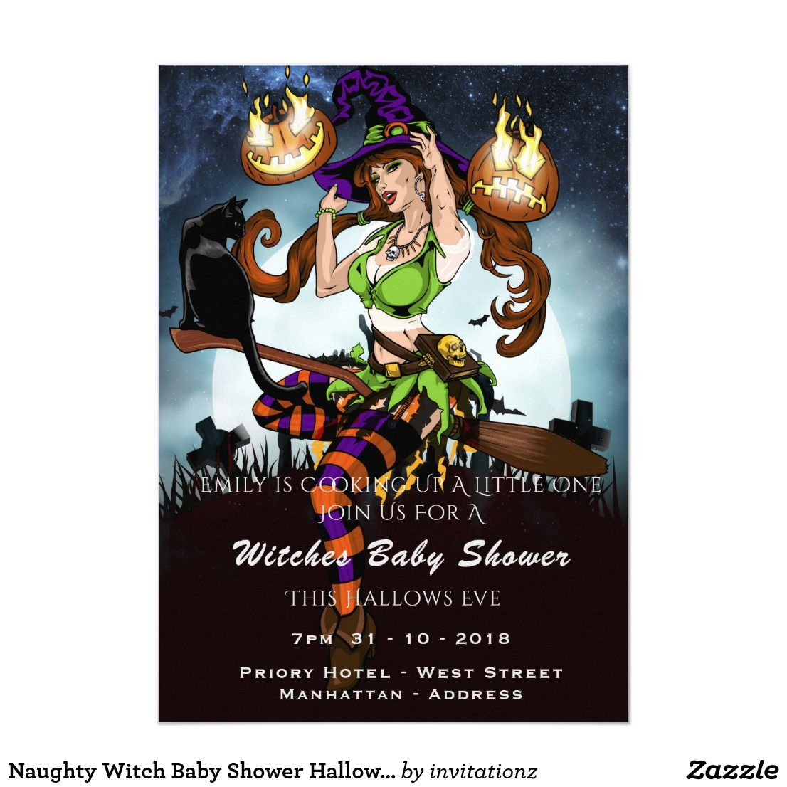 Naughty witch baby shower halloween party invite baby shower naughty witch baby shower halloween party invite monicamarmolfo Image collections