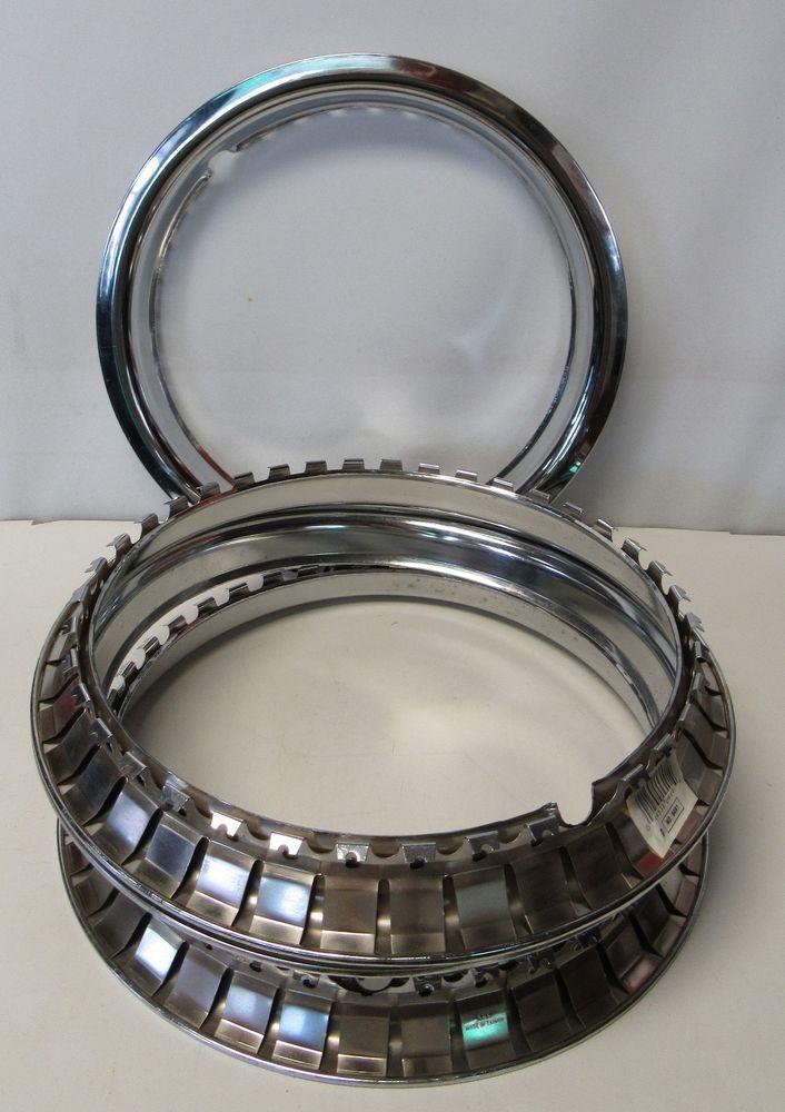 """4 NEW 15/"""" CHROME Steel Wheel Trim Rings Beauty Rims Glamour Ring Rim Edge Bands"""