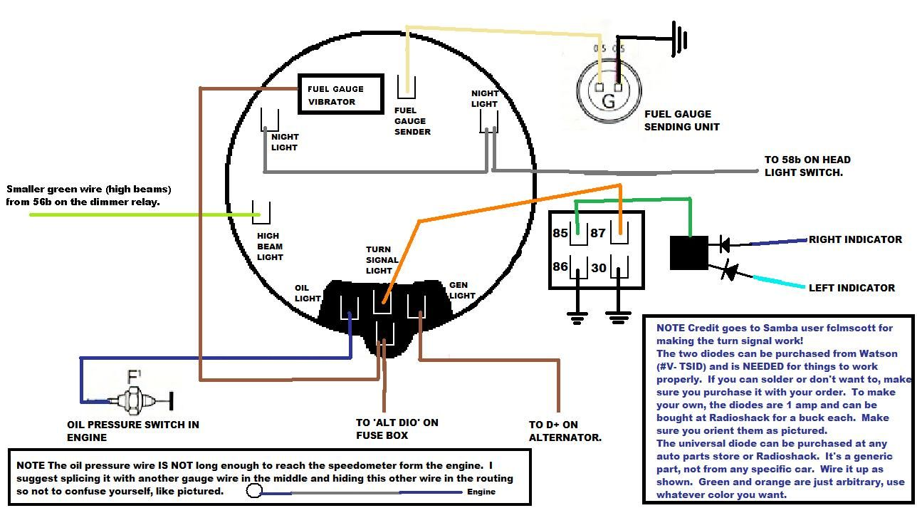 diagram for instrument gauge and lights Beetle, Vw parts