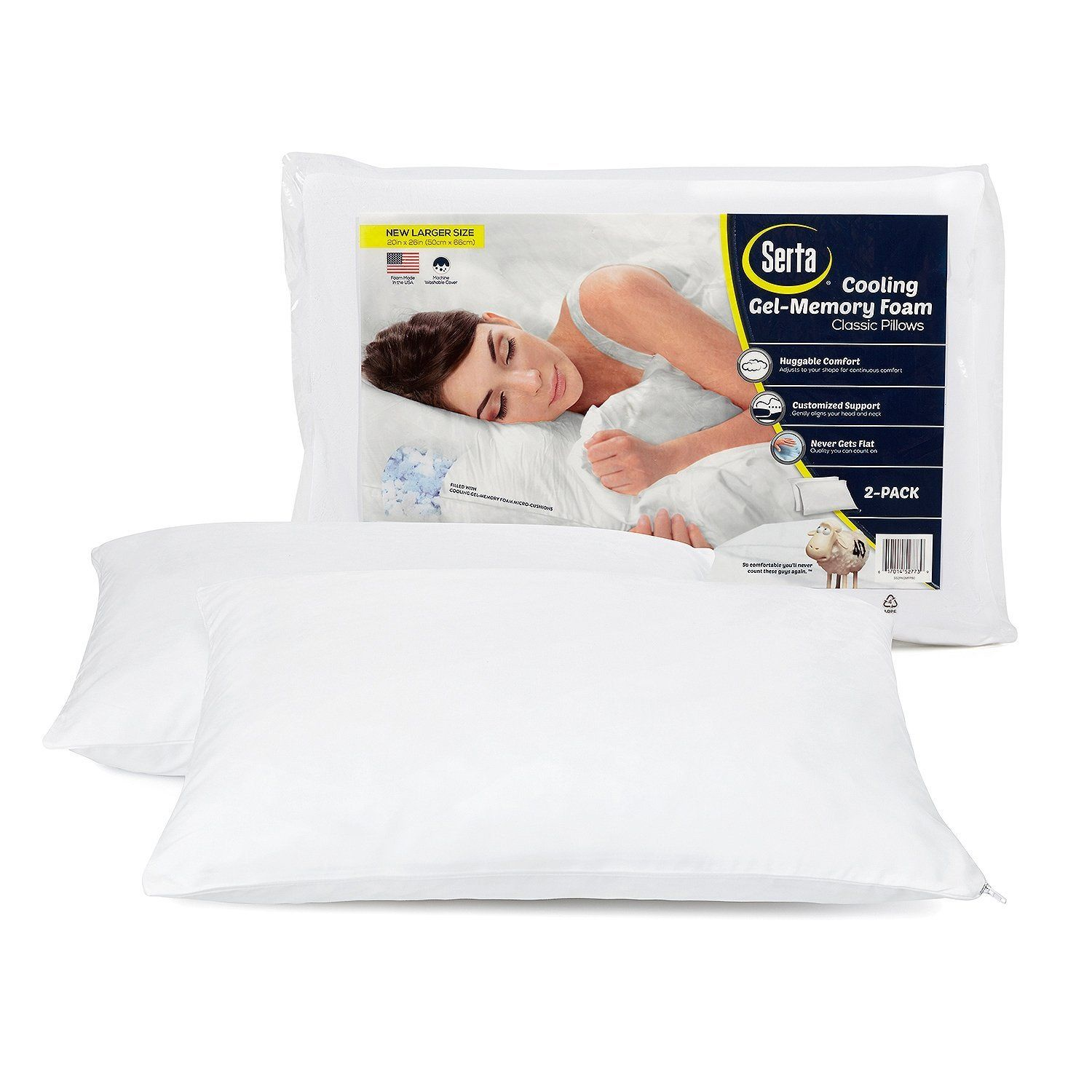 Serta Gel Memory Foam Cluster Pillows Set Of 2 Just 12 93 Amazing Price Grab The Serta Gel Memory Foam Cluster Classic Pillows Pillows