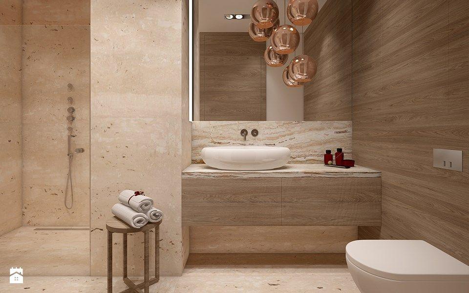 Klasyka. Trawertyn i dąb naturalny. - zdjęcie od Ludwinowska Studio Architektury