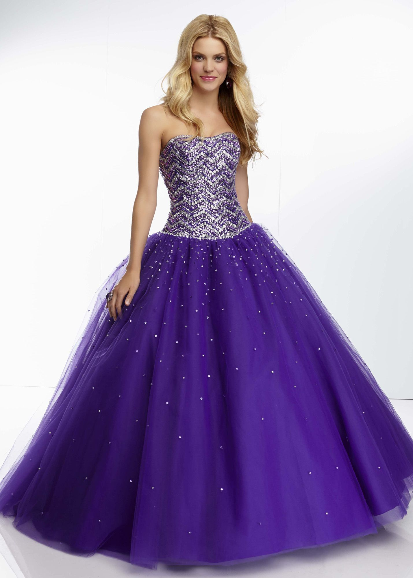 Mori Lee 95036 - Deep Purple Beaded Ball Gown Prom Dresses Online ...