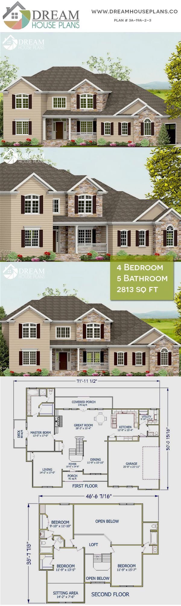 Dream House Plans Best Traditional 4 Bedroom 2813 Sq Ft Home Plan With Wrap Around Porch We Cust New House Plans Dream House Plans Craftsman House Plans
