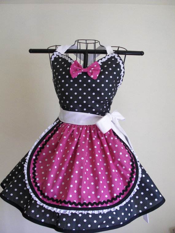 Retro Apron French Maid Apron Pin-up Black and White Hot Pink Polka ...