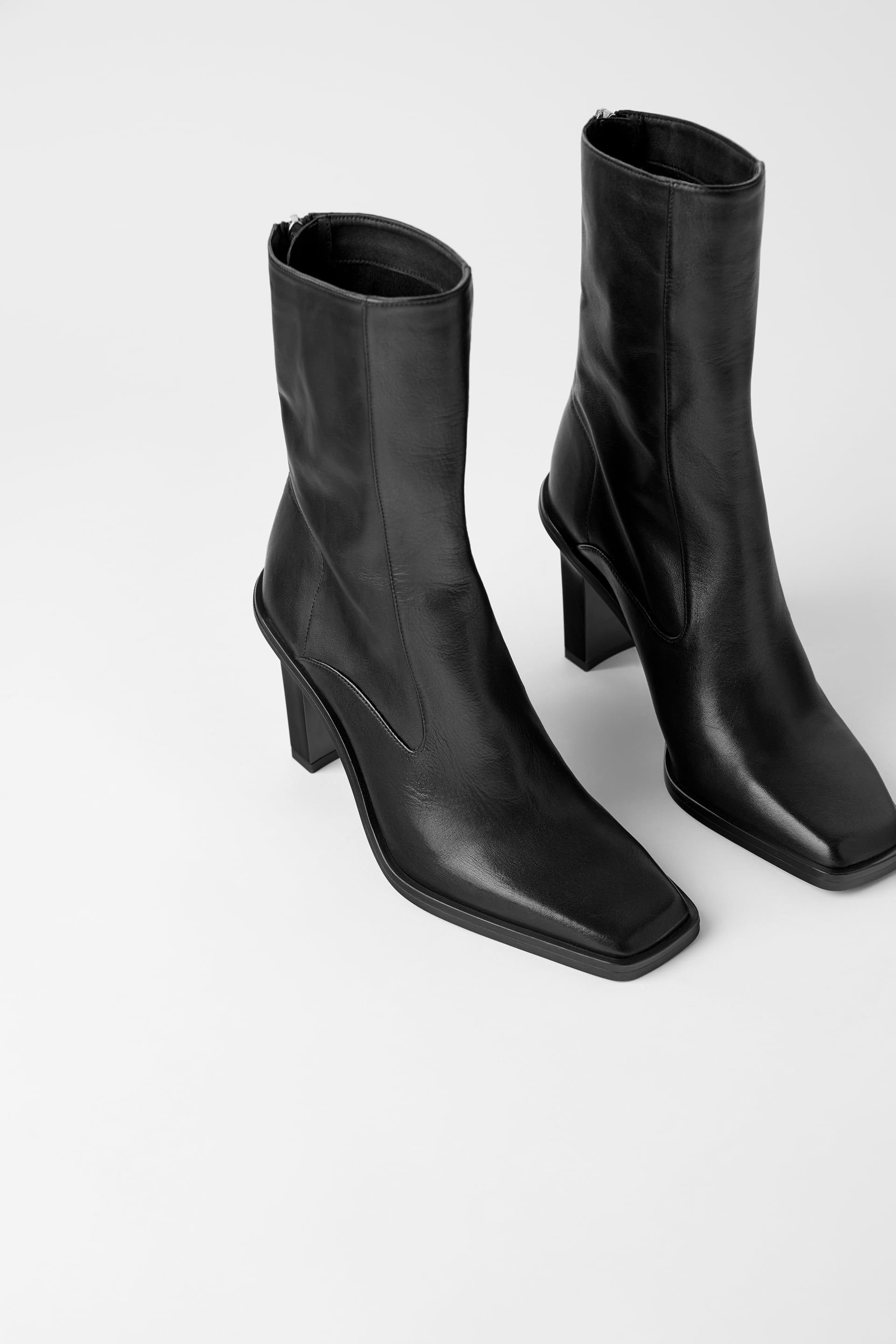 Zara Woman Square Toed High Heel Leather Ankle Boots Boots High Heel Boots Ankle Square Toe Boots