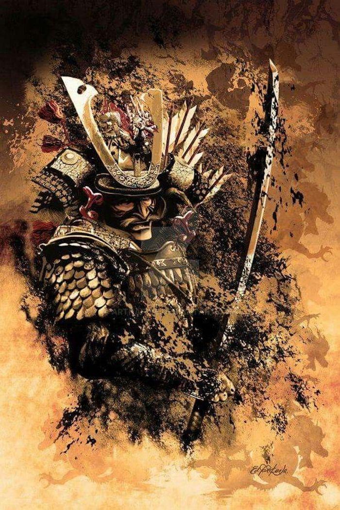 samurai, meske, helm, katana, samuraischwert, schwert