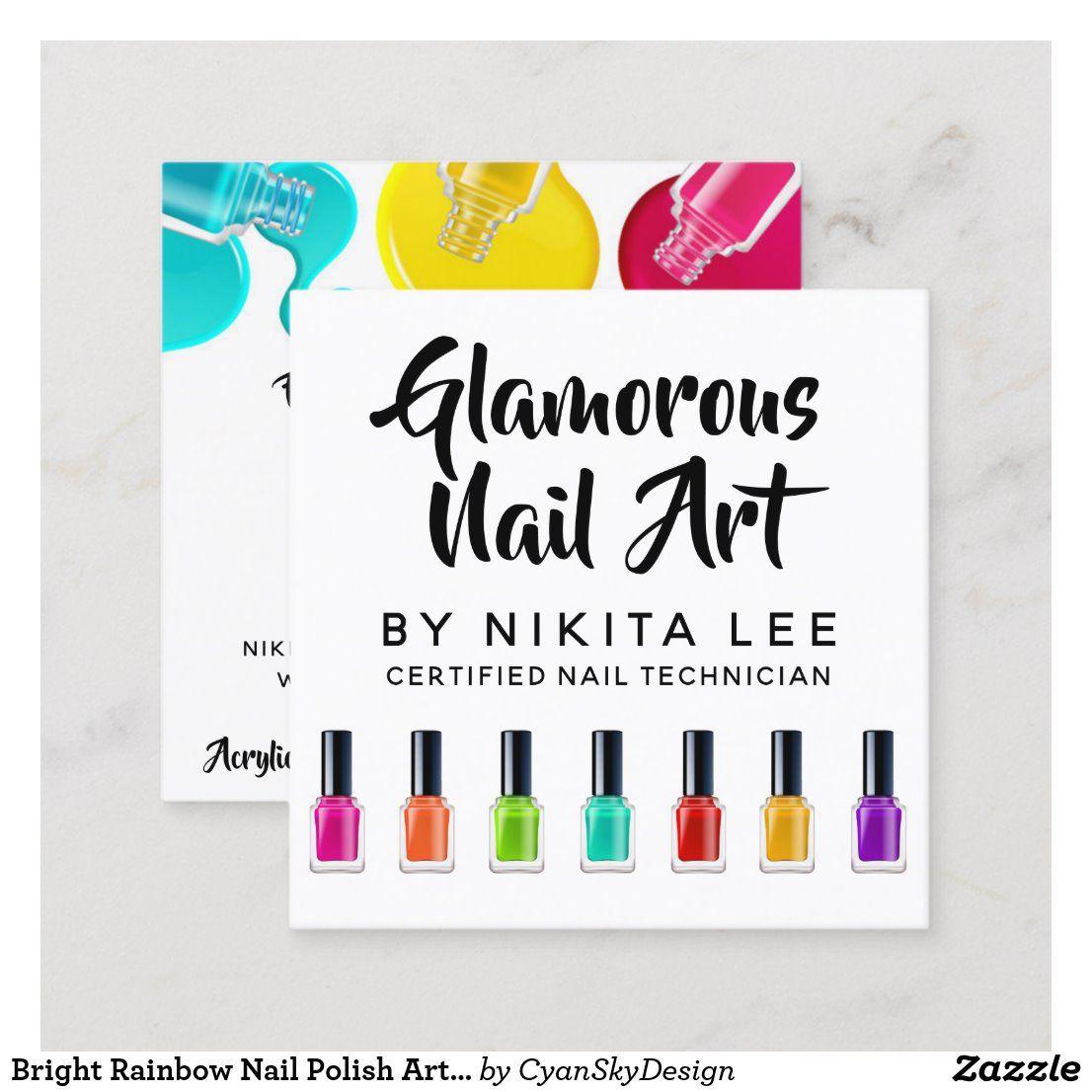 Bright Rainbow Nail Polish Art Tech Salon Custom Square