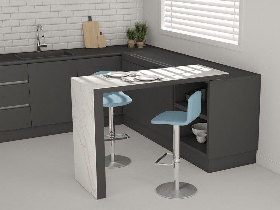 Tavolo alto da cucina 90 by CANCIO piano in laminato, ceramica o ...
