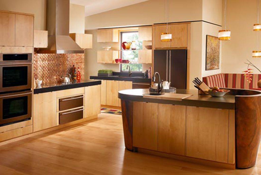 Arbeitsplatte Und Boden Kombinationen Licht Holz Kuche Kabinette