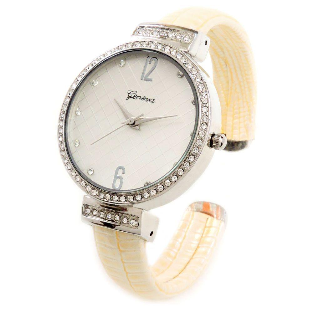 Beige Silver Croc Style Band Crystal Bezel Women's Cuff Watch