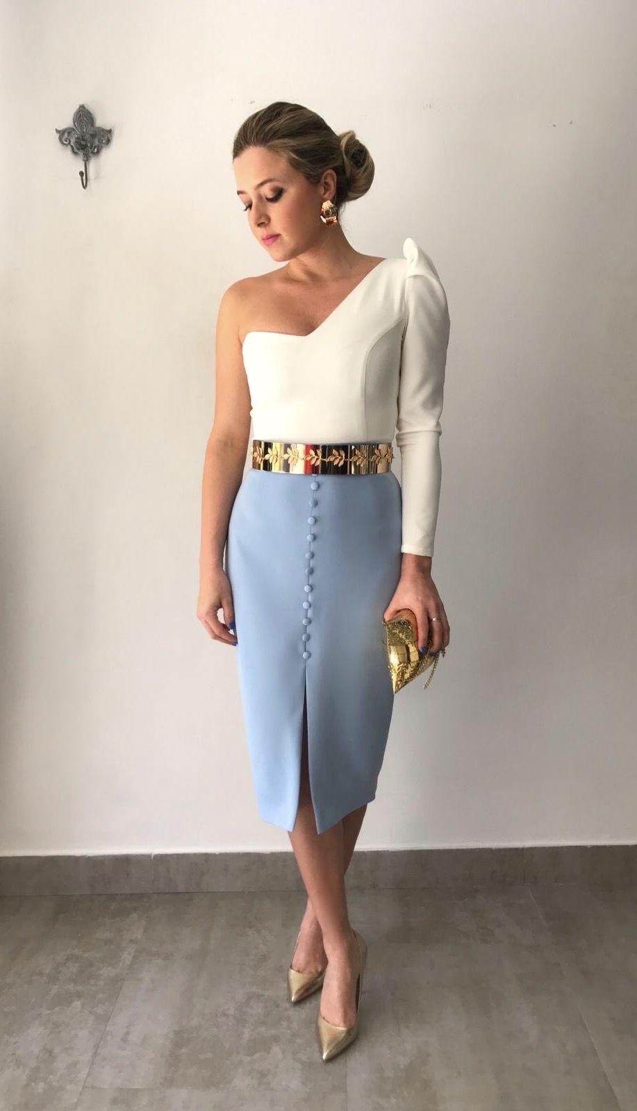 0245600683b invitadaperdecta falda blusa putfit moda elegant invitada
