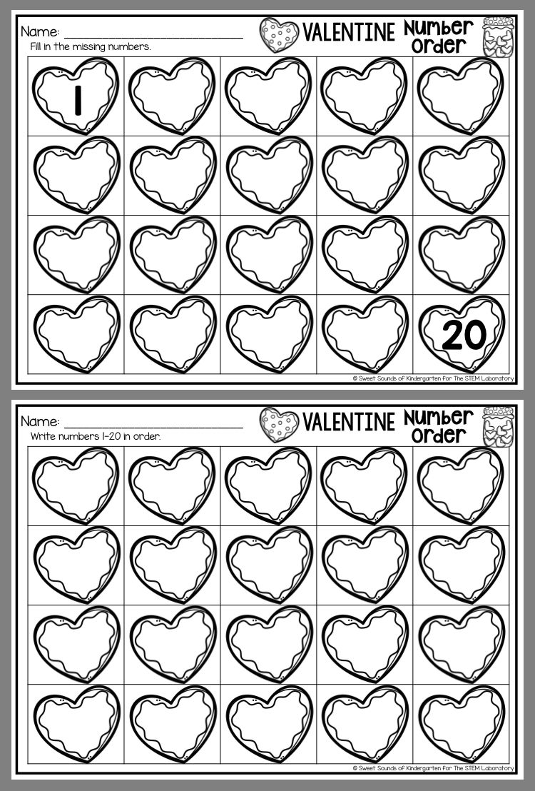 Valentine Number Order Kindergarten Valentines Valentine Worksheets Valentines School [ 1108 x 750 Pixel ]