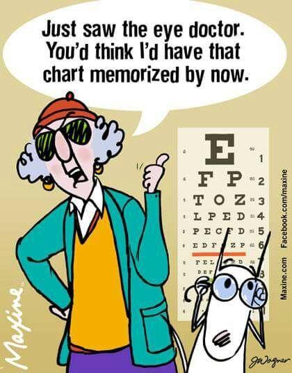 Maxine on the eye doctor