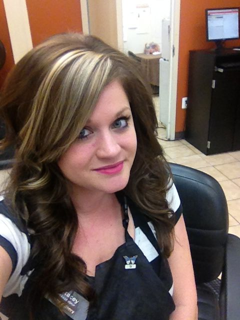 Dark Hair Color With Chunky Blonde Bangs With Images Hair
