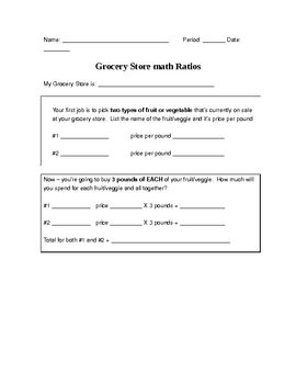 A ratio worksheet that can be used the Grocery Store mailers that ...