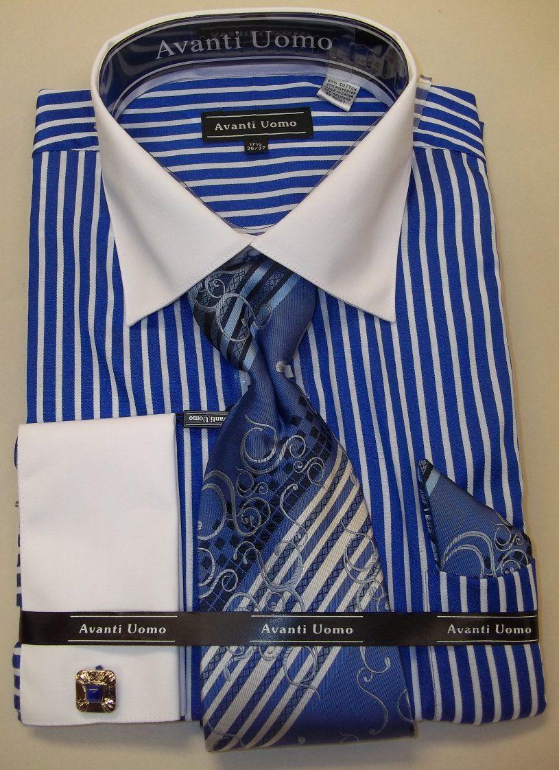Avanti umo dn51m men 39 s stripe french cuff shirt royal for Dress shirt french cuffs
