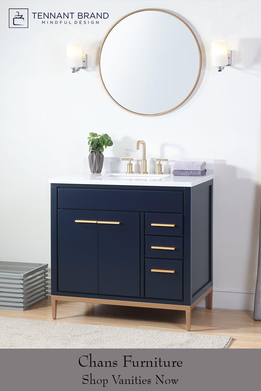 36 Tennant Brand Beatrice Navy Blue Modern Bathroom Sink Vanity