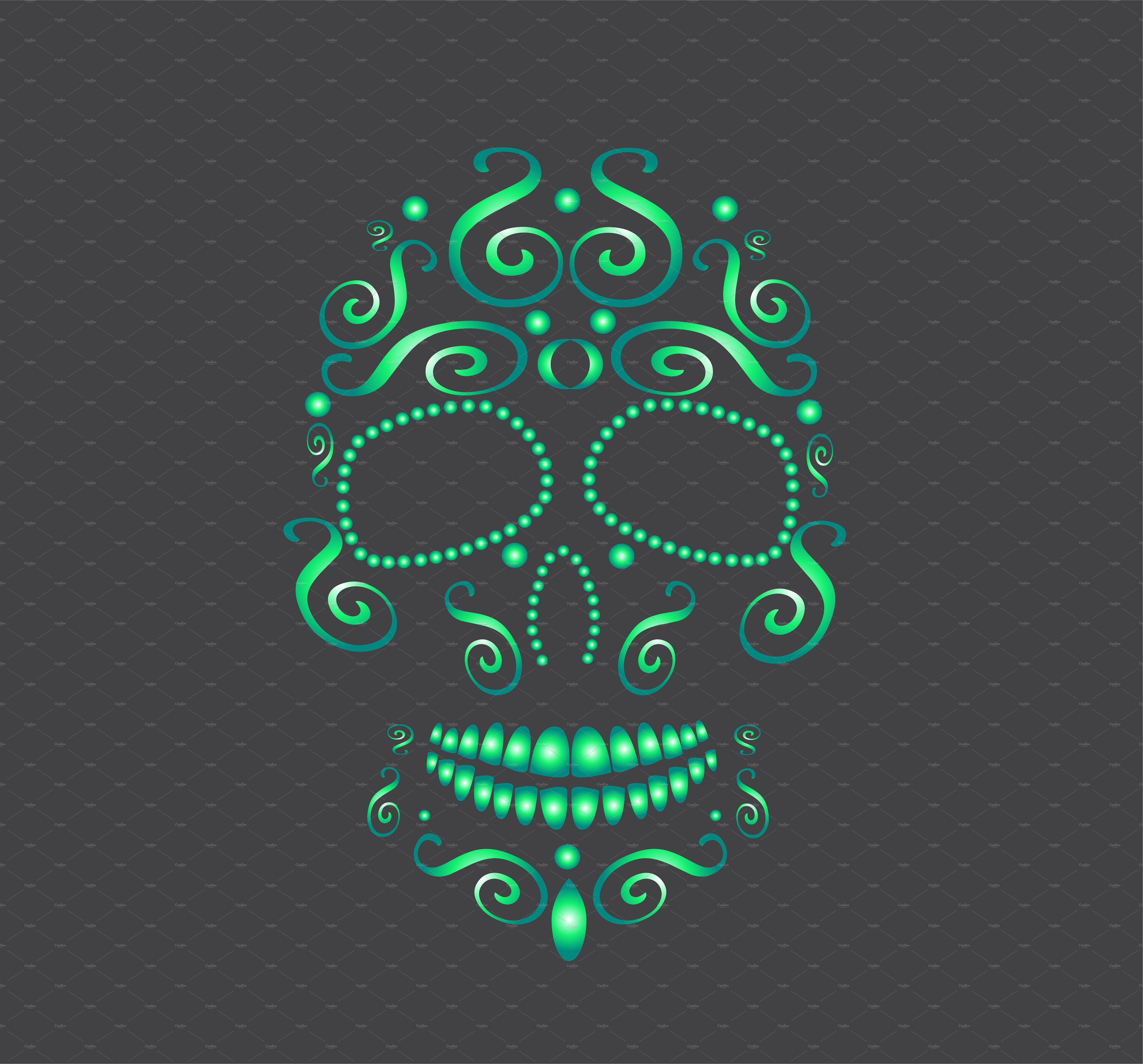 Skull vector neon green by TeaGraphicDesign on