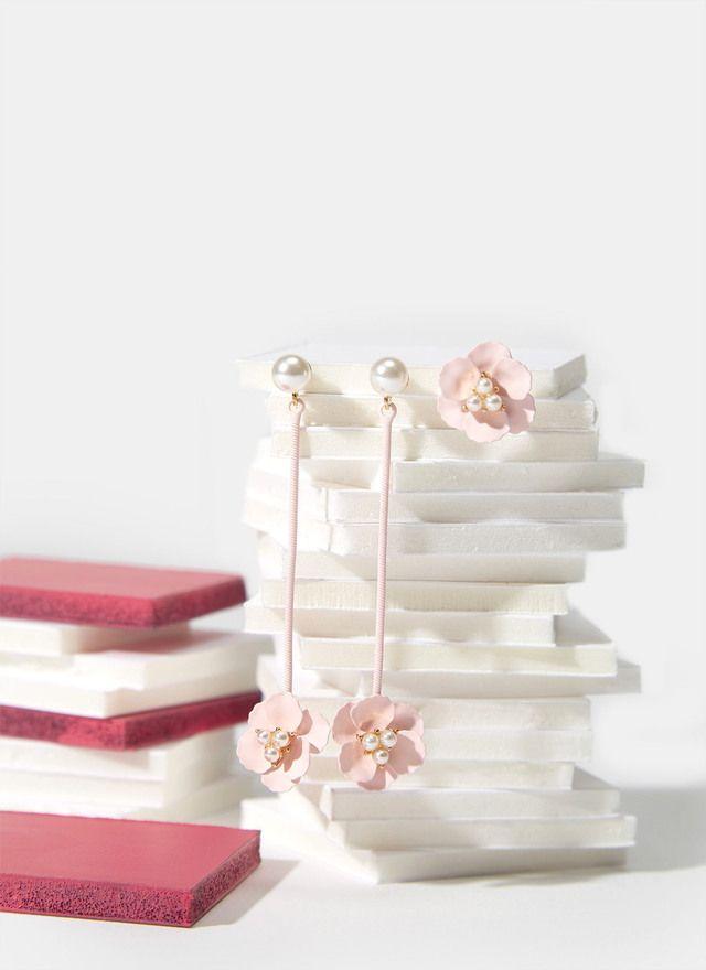 Tríptico de pendientes con flor engomada - Bisutería Adolfo