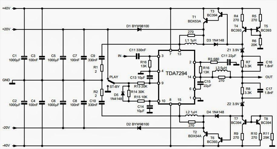100w audio amplifier with mute  st