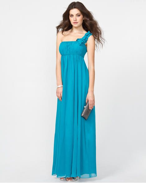Chiffon Rosette One Shoulder Gown I Love This Dress Maybe For My