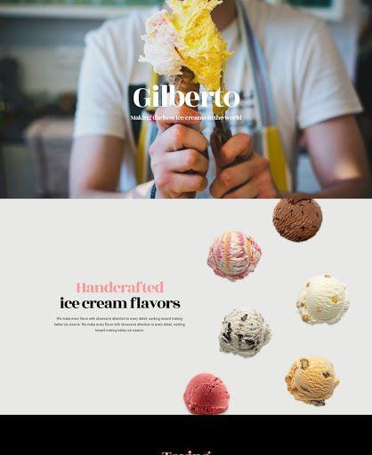 Gilberto Ice Cream Website Theme. Youglobalize DIY Website Builder ...