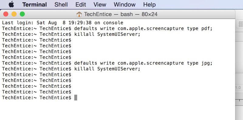 Changing macos screen capture file format screenshots