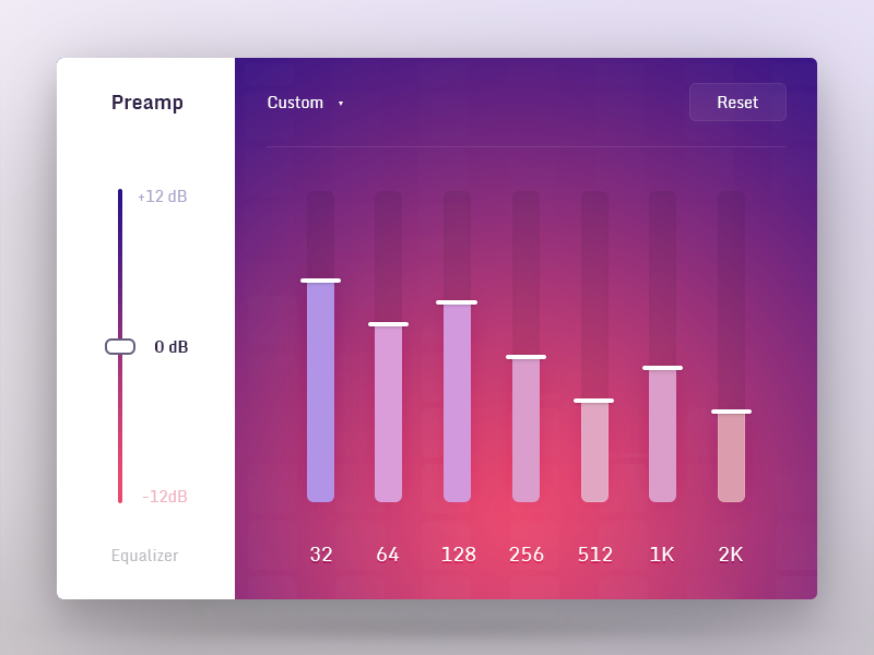 Audio Equalizer | User Interface | App ui, Ui design, Ui ux