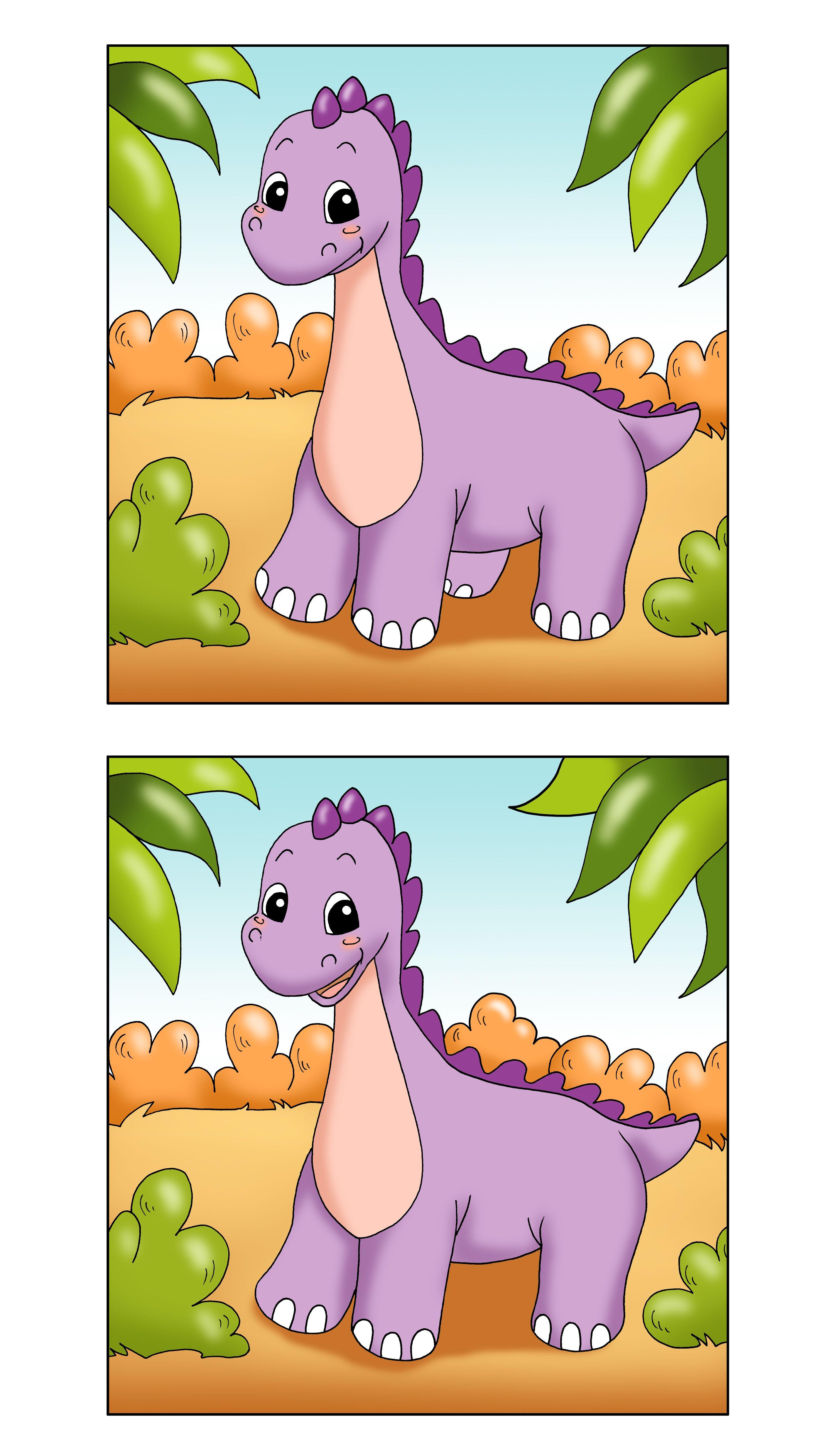 Find The Difference Printable Dinosaur Game Thema Dinosaurus Dinosaurussen