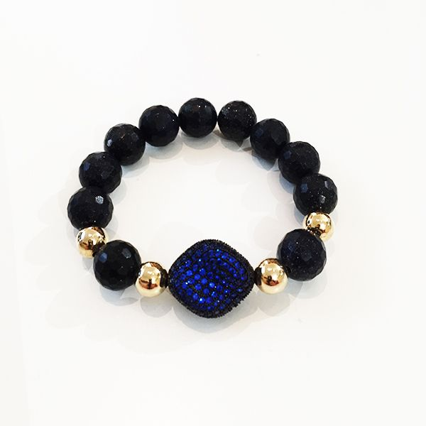 Bracelets By Vila Veloni Dark Pellets With Dark Blue Zirconia