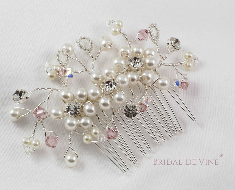 Bridal Hair Comb made with Ivory Pearl, Antique Rose Swarovski Crystals Diamante