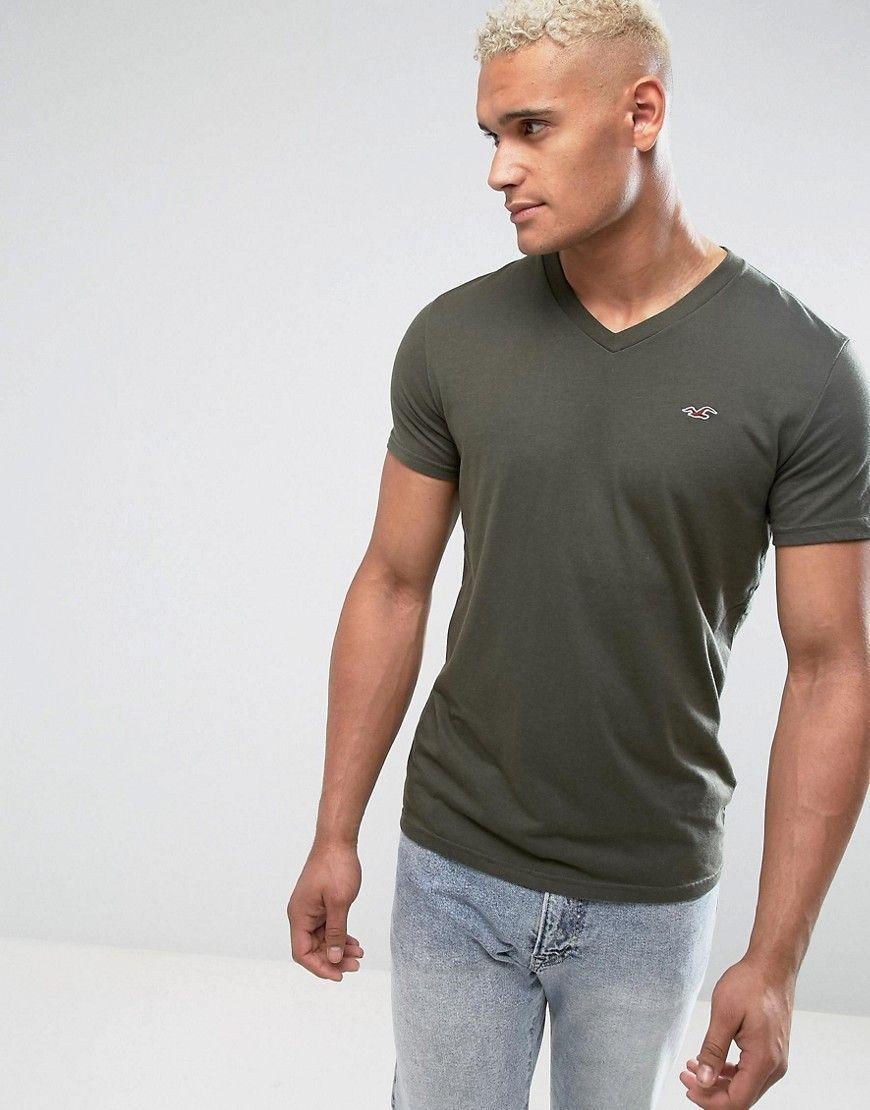 a5408b025 Hollister V-Neck T-Shirt Slim Fit Icon Logo in Olive - Green | Men ...