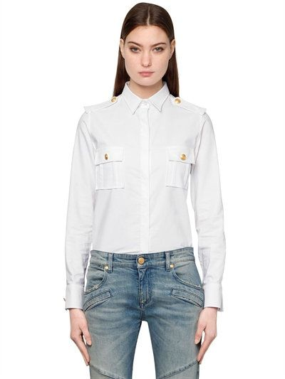 ffa5dbd5 PIERRE BALMAIN Military Cotton Poplin Shirt, White. #pierrebalmain #cloth # shirts
