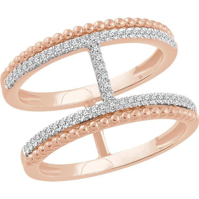 14K Rose 1/5 CTW Diamond Negative Space Ring Joyas y