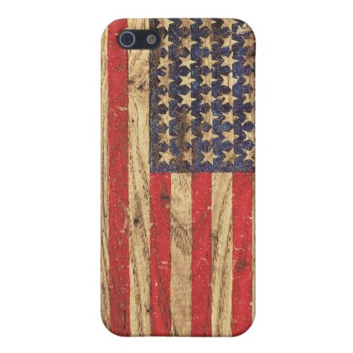 Vintage Patriotic American Flag on Old Wood Grain Case For iPhone 5
