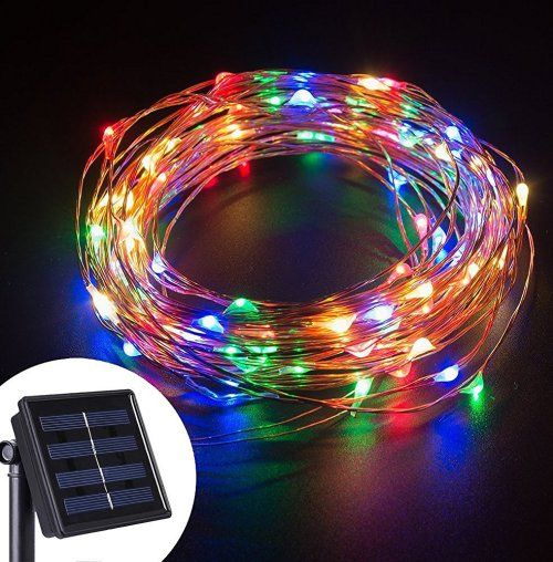 Image result for solar copper wire string lights multi