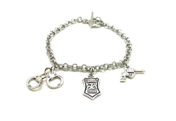 Police Charm Bracelet Wife Silver Cop